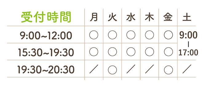 平日9:00-12:00,15:30-19:30, 土曜9:00-12:00 <br>火金20:30まで受付
